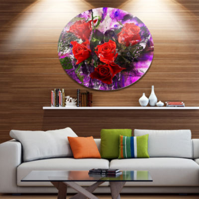 Designart Five Red Roses Abstract Background Floral Metal Circle Wall Art