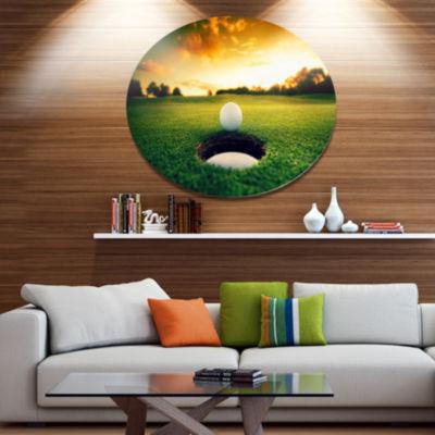 Designart Golf Ball Near Hole Landscape Metal Circle Wall Art