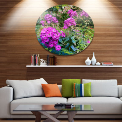 Designart Theme With Pink Flowers and Green FloralMetal Circle Wall Art