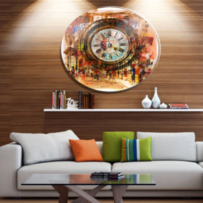 Designart People and Time Acrylic Painting Large Abstract Metal Artwork