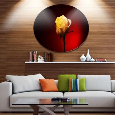 Designart Beautiful Yellow Colored Rose Large Floral Metal Circle Wall Art