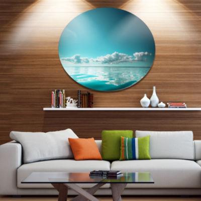 Designart Blue Sea Horizon and Skyscraper Large Seashore Metal Circle Wall Art