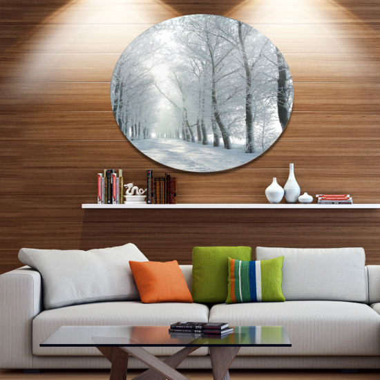 Designart Winter Country Lane on Frosty Morning Large Forest Metal Circle Wall Art