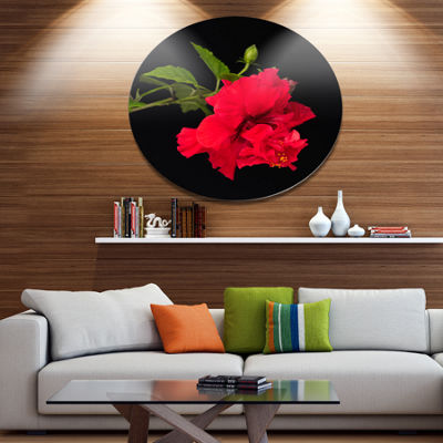 Designart Bright Red Hibiscus on Black Large Floral Metal Circle Wall Art