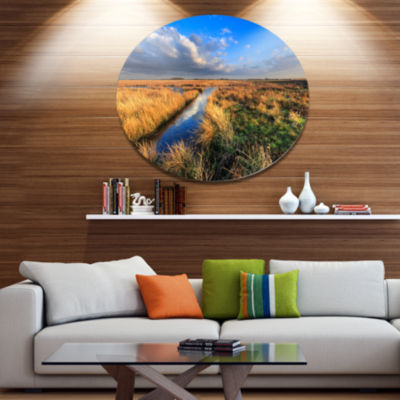 Designart Beautiful Meadow with Blue Sky LandscapeMetal Circle Wall Art