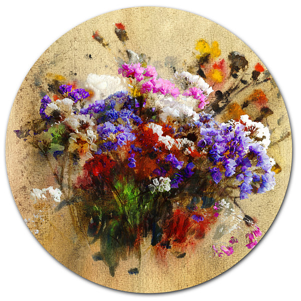 Designart Floral Still with Bunch of Flowers Floral Metal Circle Wall Art