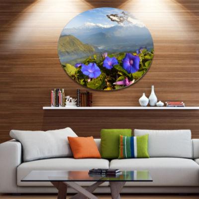 Designart Stunning Mountain Terrain with Flowers Landscape Metal Circle Wall Art