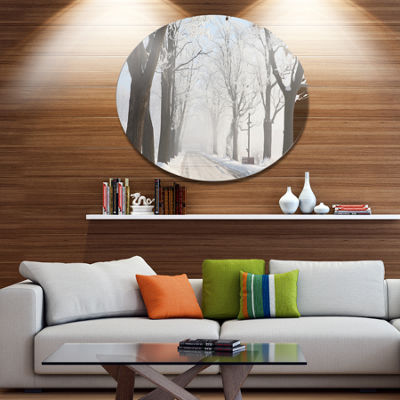 Designart Misty Rural Road in Winter Forest LargeForest Metal Circle Wall Art