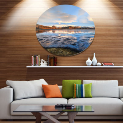 Designart Approach To Dyrholaey Durign Sunrise Large Seashore Metal Circle Wall Art