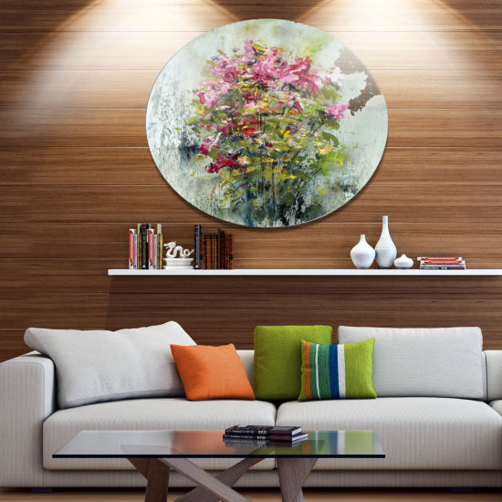 Designart Bouquets Of Roses Painting Art Floral Metal Circle Wall Art