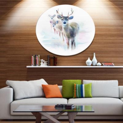 Designart Beautiful Deer With Big Horns Animal Metal Circle Wall Art