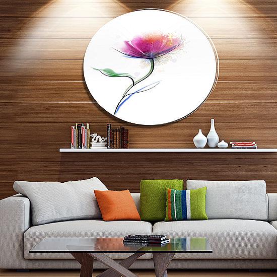 Designart Vector Watercolor Fl Design Large Metal Circle Wall Art