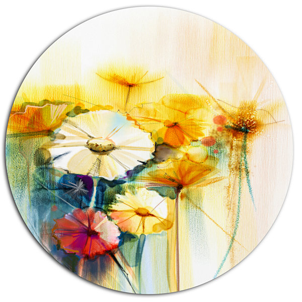 Designart Bunch of White Yellow Flowers Large Floral Metal Circle ...