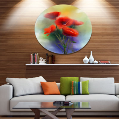 Designart Watercolor Red Poppy Flowers Painting Large Floral Metal Circle Wall Art