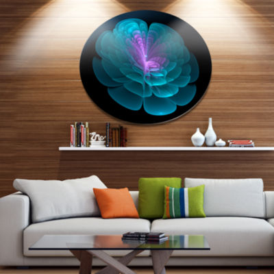Designart Abstract Blue Floral Fractal BackgroundExtra Large Floral Wall Art