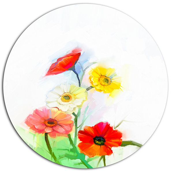 Designart Still Life Colored Gerbera Flowers LargeFloral Metal Circle Wall Art