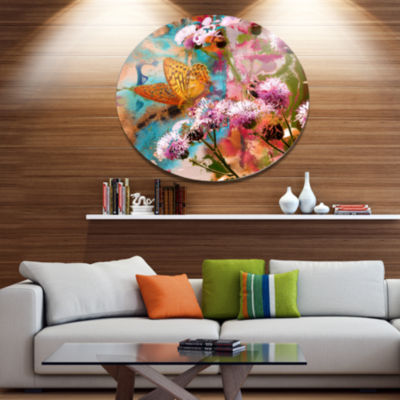 Designart Yellow Butterfly on Thistle Flowers Floral Metal Circle Wall Art