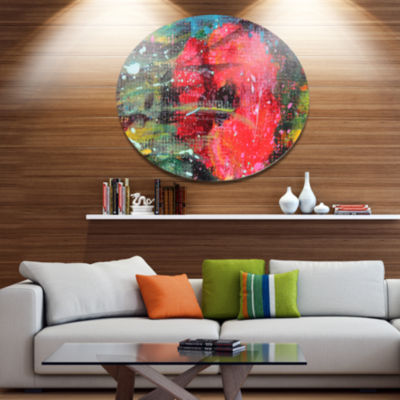Designart Red Poppy Acrylic Drawing Extra Large Floral Wall Art