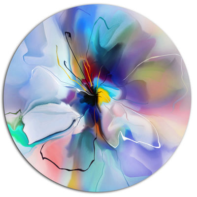 Designart Abstract Creative Blue Flower Extra Large Floral Wall Art