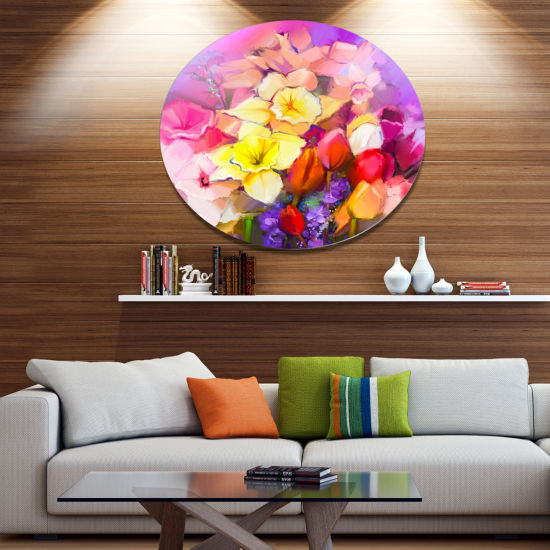 Designart Bouquet of Daffodil and Tulip Flowers Large Floral Metal Circle Wall Art