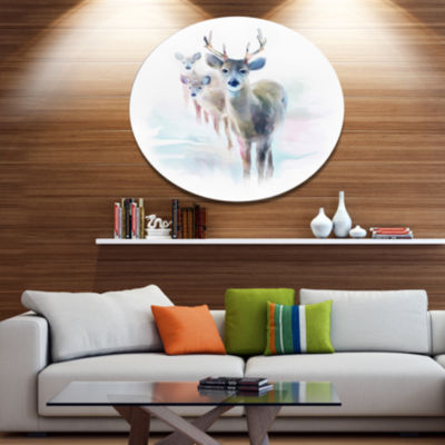 Designart Beautiful Deer With Big Horns Animal Metal Circle Wall Art