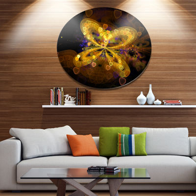 Designart Fractal Yellow Butterfly Pattern ExtraLarge Floral Wall Art