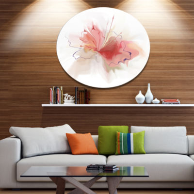 Designart Pink Watercolor Flower Sketch Extra Large Floral Wall Art