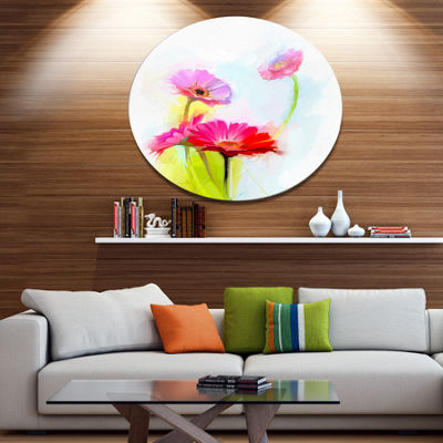 Designart Still Life Cute Red Gerbera Flowers Large Floral Metal Circle Wall Art