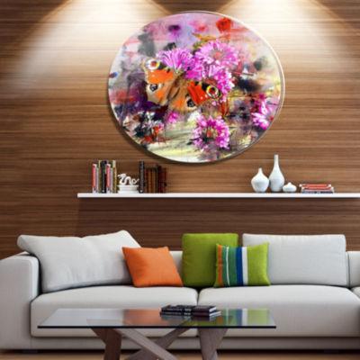 Designart Pink Flowers and Cute Butterflies FloralMetal Circle Wall Art