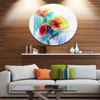 Designart Watercolor Multi color Flower Illustration Large Floral Metal Circle Wall Art