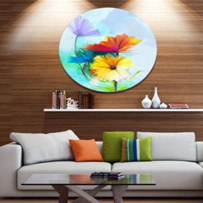 Designart Amazing Watercolor of Spring Daisies Large Floral Metal Circle Wall Art