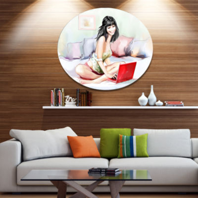 Designart Pretty Woman with Laptop Portrait MetalCircle Wall Art