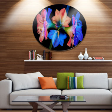 Designart Abstract Blue Red Flower on Black ExtraLarge Floral Wall Art