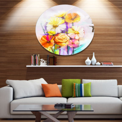 Designart Yellow Pink Gerbera and Rose Bouquet Extra Large Floral Wall Art