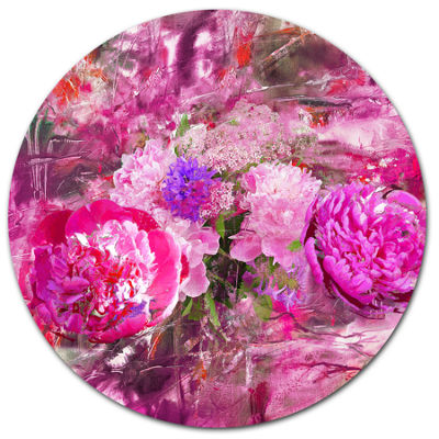 Designart Pink Peonies Abstract Background FloralMetal Circle Wall Art