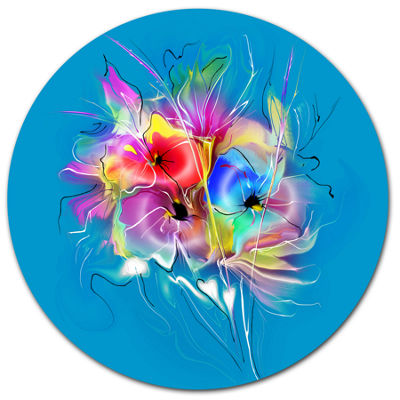 Designart Summer Colorful Flowers on Blue Extra Large Floral Wall Art