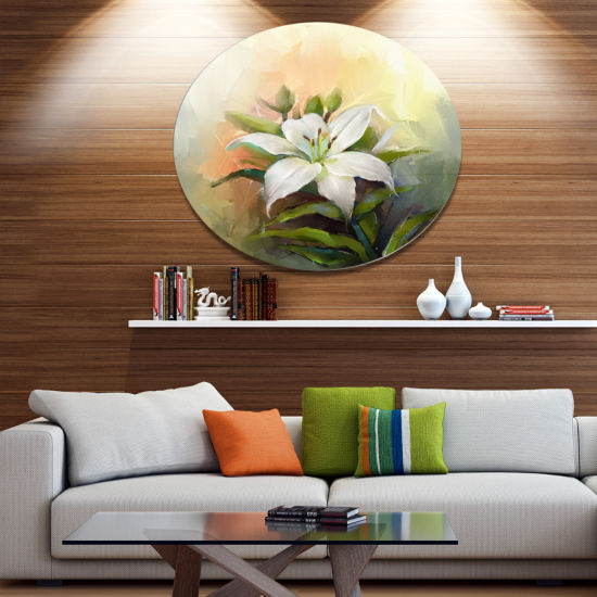 Designart White Lily Flower Oil Painting Large Floral Metal Circle Wall Art