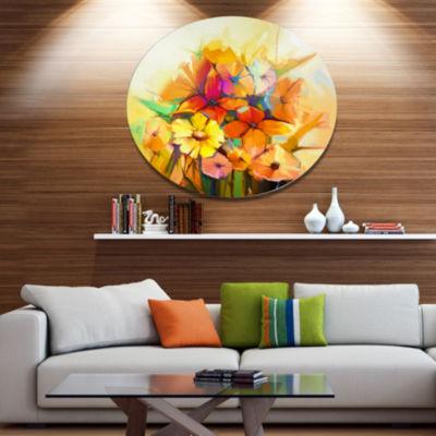 Designart Fantastic Colorful Gerbera Flowers LargeFloral Metal Circle Wall Art
