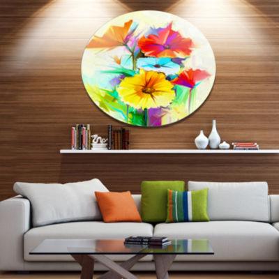 Designart Colorful Gerbera Flower Sketch on WhiteLarge Floral Metal Circle Wall Art