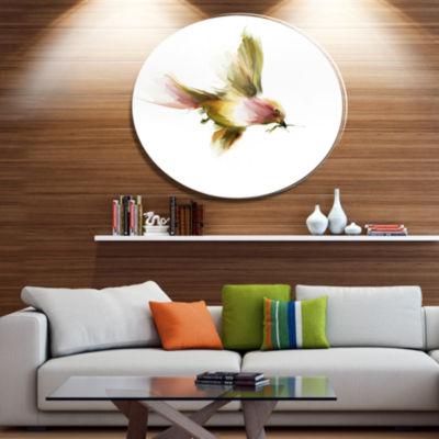 Designart Nice Flight of Lovely Green Bird AnimalMetal Circle Wall Art