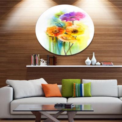 Designart Yellow Orange Purple Gerbera Flowers Large Floral Metal Circle Wall Art