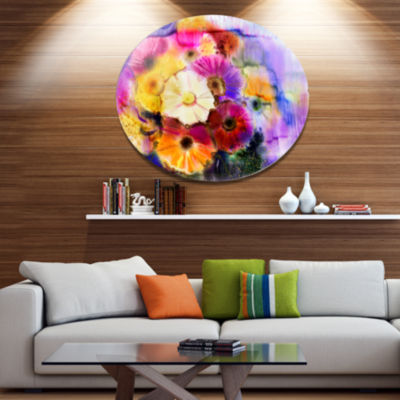 Designart Bunch of Colored Daisy Flowers Large Floral Metal Circle Wall Art