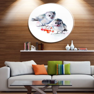 Designart Birds on Branch With Red Berries AnimalMetal Circle Wall Art