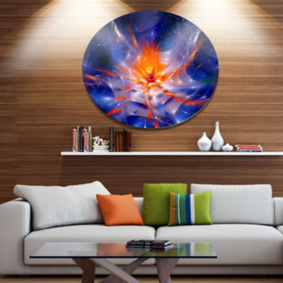 Designart Colorful Glowing Space Flower Fractal Extra Large Floral Wall Art