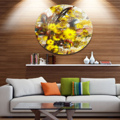 Designart Yellow Flowers Watercolor Illustration Floral Metal Circle Wall Art