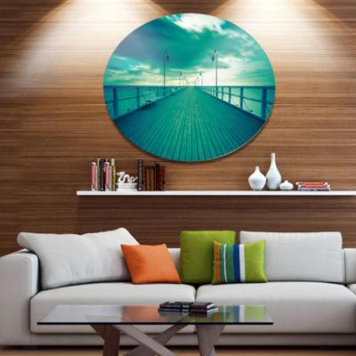 Designart Blue Seascape With Wooden Pier Bridge Metal Circle Wall Art