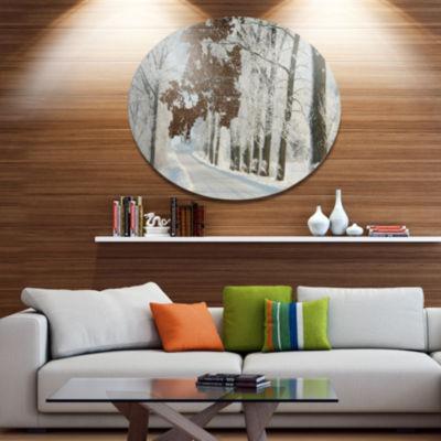 Designart Winter Road in Dense Foggy Forest LargeForest Metal Circle Wall Art