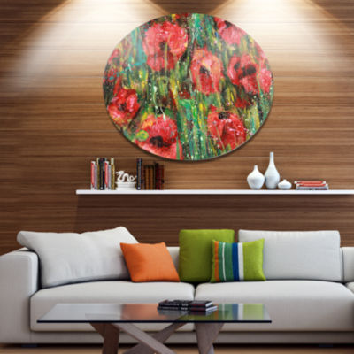 Designart Red Poppies Watercolor Drawing Extra Large Floral Wall Art