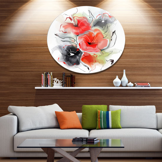 Designart Red Black Abstract Floral Design Extra Large Floral Wall Art