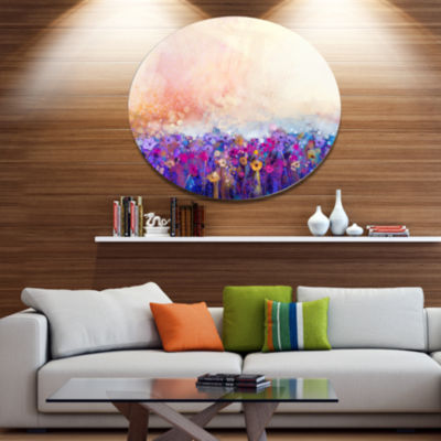 Designart Abstract Flower Watercolor Painting Large Floral Metal Circle Wall Art